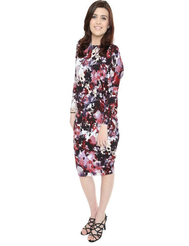 Women's Wine Floral Print Long Sleeve Comfy Cover Up Knee Length Dress