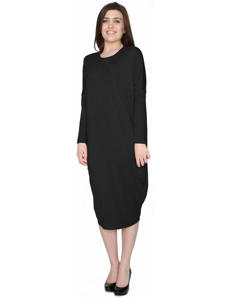 Women's Micro Suede Knit Comfy Midi Dress