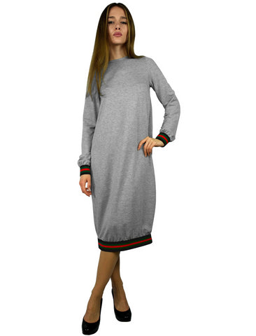 Women's Designer Stripe Trimmed Comfy Dress
