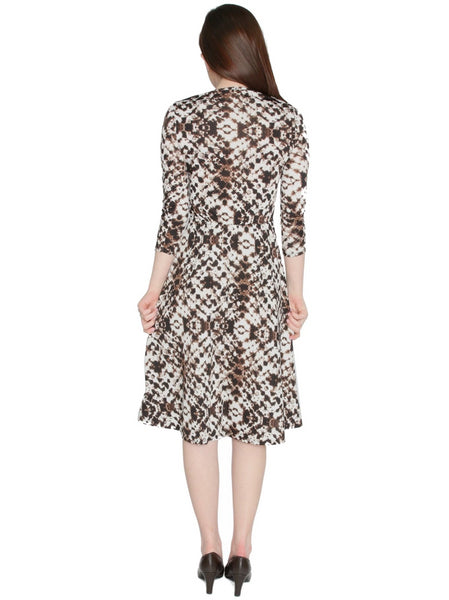 Women's Abstract Ink Blotch Printed Fit and Flare Midi Length Dress