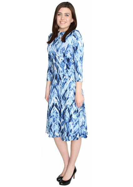 Women's Abstract Paintstroke Printed Fit and Flare Midi Length Dress