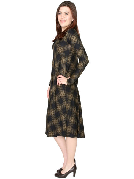 Women's Ultra Soft Brushed Plaid Jersey Swing Dress