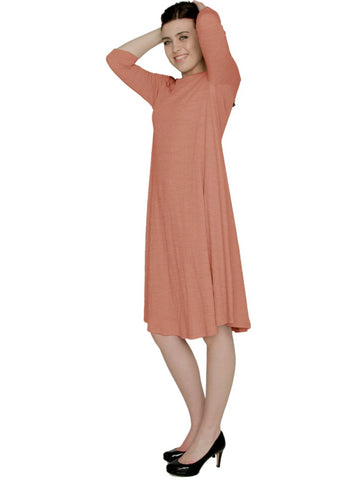 Women's Puckered Stretch Knit Midi Swing Dress