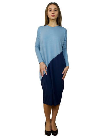 Women's Midi Length Color Blocked Comfy Dress