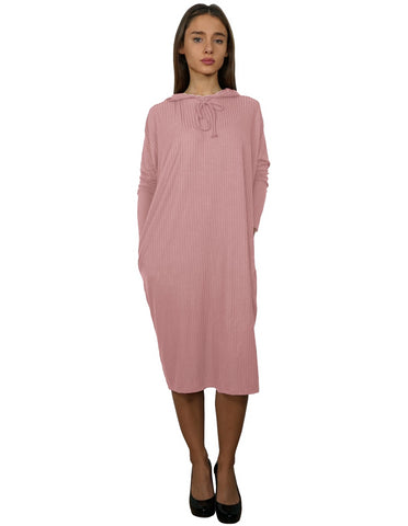 Women's Ribbed Knit Hoodie Comfy Dress