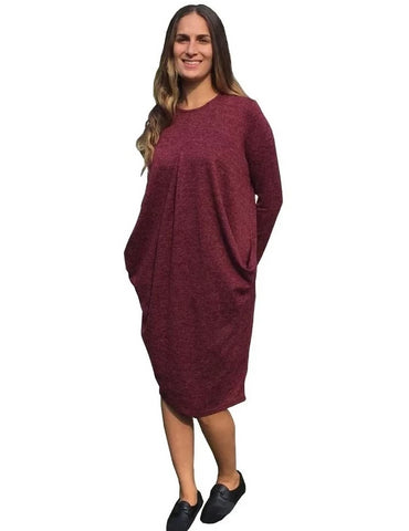 Brushed Sweater Knit Pleated Front Slouch Pocket Modest Dress Burgundy