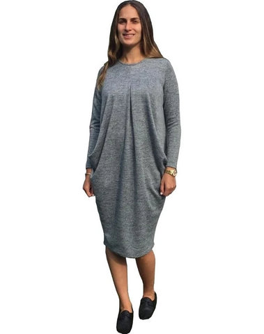 Women's Brushed Sweater Knit Pleated Front Slouch Pocket Midi Dress