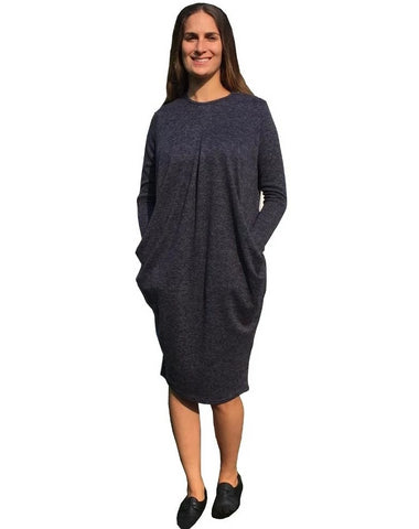 Baby'O Women's Brushed Sweater Knit Pleated Front Slouch Pocket Midi Dress