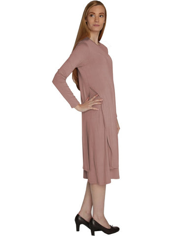 Women's Solid Color Layered Tunic Style Below the Knee Length Midi Dress