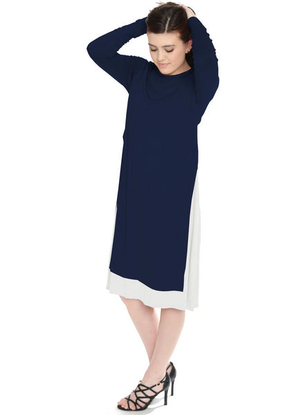 Women's Layered Side Slit Tunic Style Below the Knee Length Midi Dress