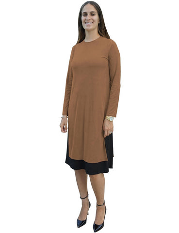 Women's MICRO SUEDE Layered Side Slit Tunic Style Below the Knee Length Midi Dress