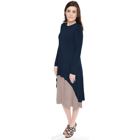 Women's Layered High-Low Midi Dress