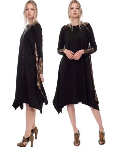 black ultra suede casual Fashionable modest dress