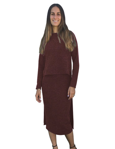 Women's Cropped Front Layered Sweater Knit Midi Tunic Dress