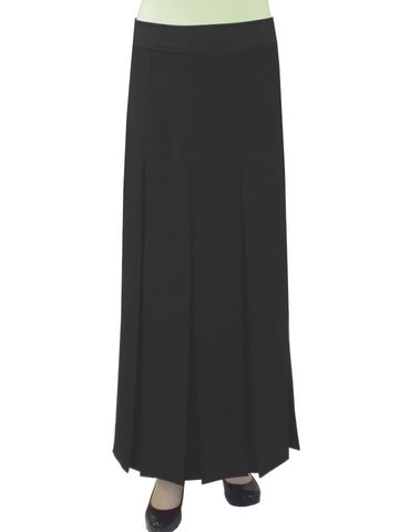 "Women's 4"" Wide Box Pleated Ankle Length Long Maxi Skirt"