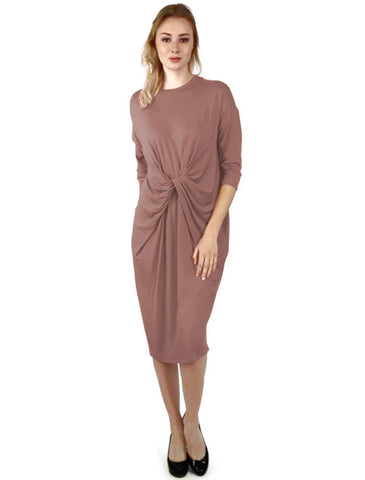 Womens Twisted Drape Front Comfy Dress