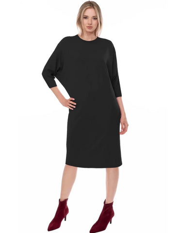 Womens Bat Sleeve Straight Tee Shirt Modest Dress Black