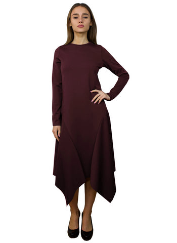 handkerchief bottom modest dress burgundy