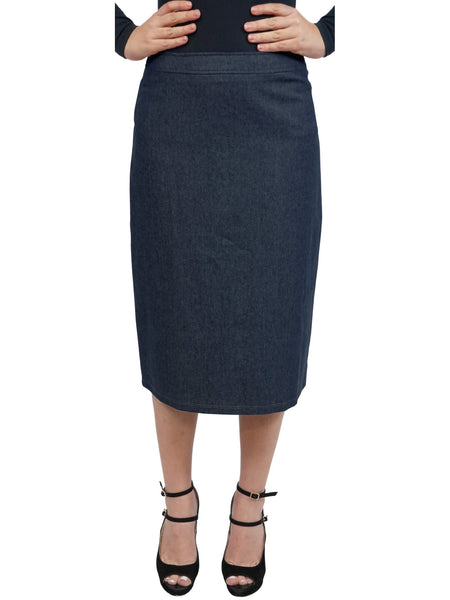 Baby'O Women's Basic Lightweight Below the Knee Midi Length Denim Straight Skirt
