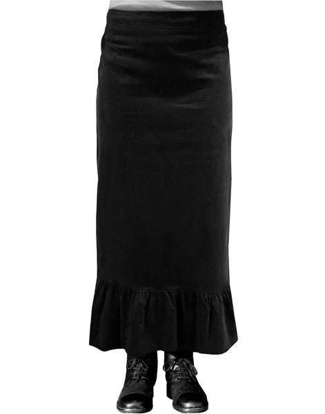 Baby'O Women's Corduroy Ruffled Bottom Midi Prairie Skirt