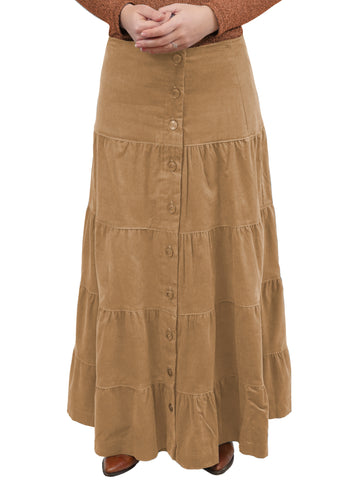 Women's Button Front Long Ankle Length Tiered Corduroy Maxi Skirt