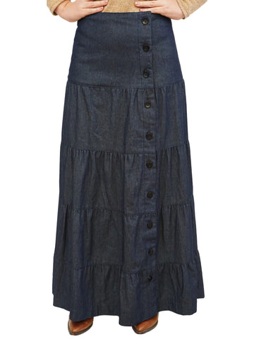 Women's Button Front Long Ankle Length Tiered Denim Prairie Skirt