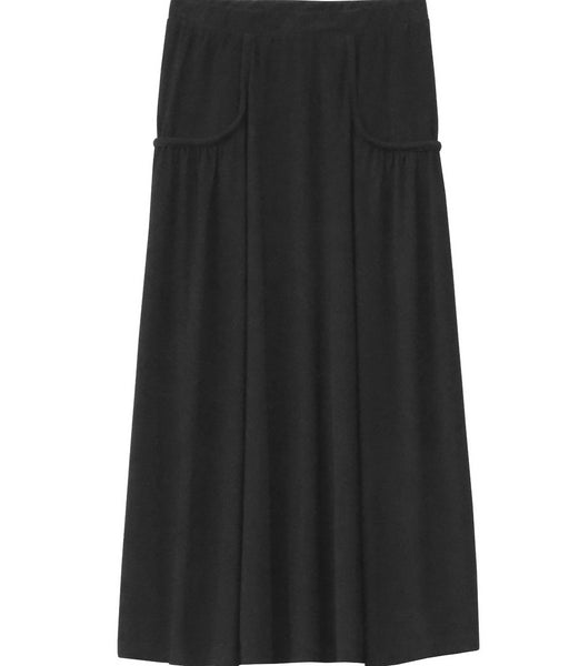 Girl's Black Faux Pocket Stretch Knit Ankle Length Skirt