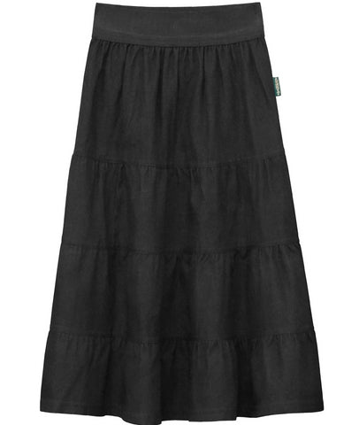 Girl 4 Tiered Lightweight Denim Mid-Calf Skirt Black