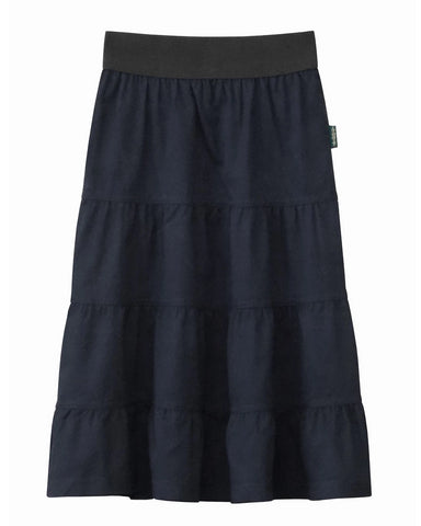Girl's 4 Tiered Cotton Twill Mid-Calf Skirt