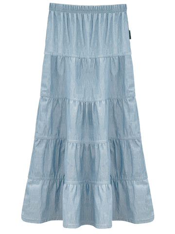 Girl's Ankle Length Long Denim 5 Tiered Skirt 4 to 18 years old
