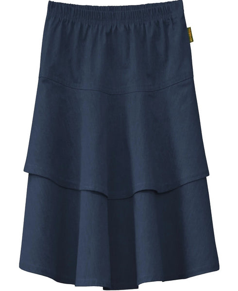 Girl's Lightweight 2 Layered Denim Knee Length Skirt