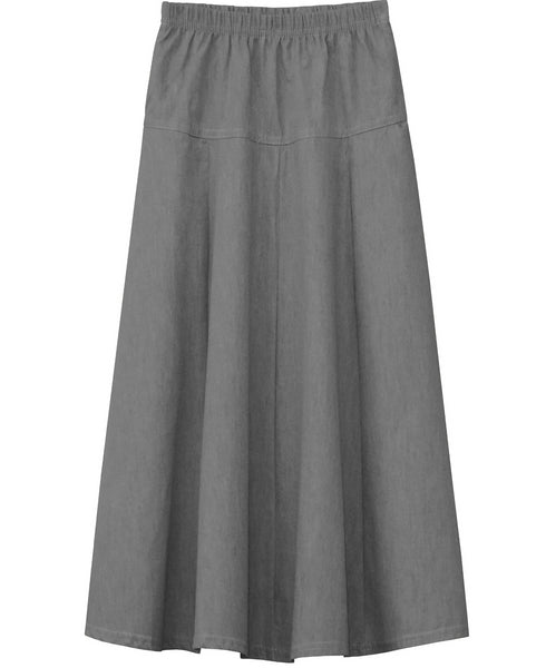 Girl's Ultra Soft Lightweight Denim Fit and Flare A-Line Maxi Skirt