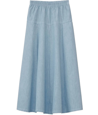 Girl's Ultra Soft Lightweight Denim Fit and Flare A-Line Maxi Skirt 4 to 18 years old
