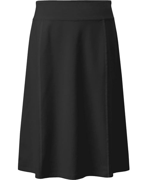 Girl's Stretch Cotton Knit Panel Below the Knee A-Line Skirt