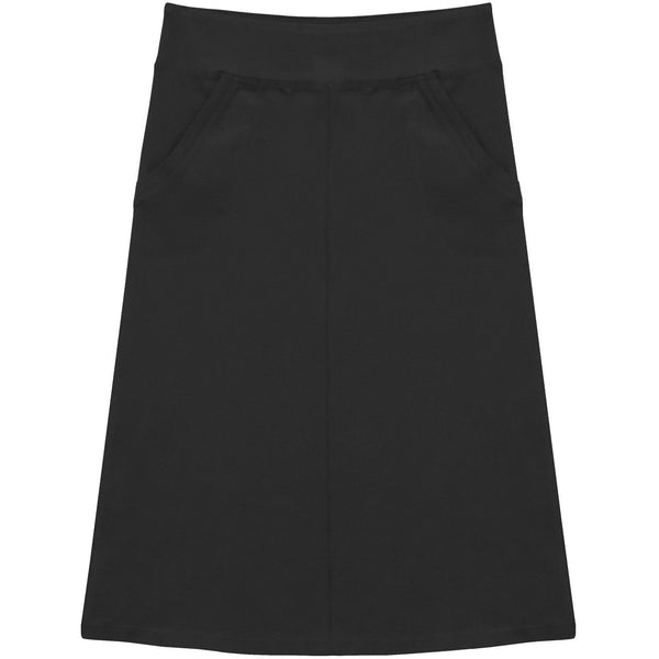 Girl's Stretch Cotton Knit Panel Below the Knee Skirt