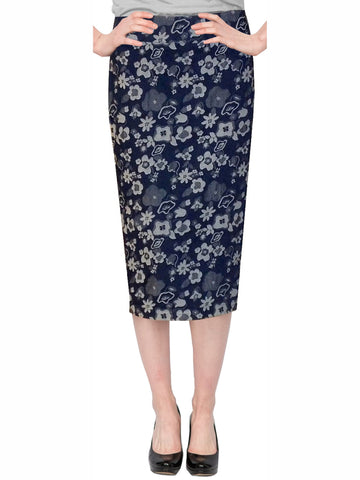 Women's Below The Knee Stretch Denim Floral Print Pencil Skirt