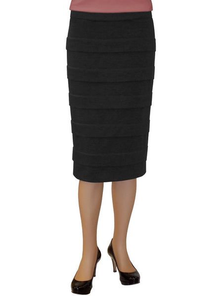 Women's Ponte Stretch Knit Layered Panel Skirt