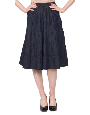 Women's Below the Knee Length 5 Tiered Denim Prairie Skirt