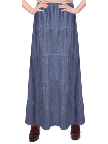Women's Ankle Length Tiered Long Denim Prairie Skirt
