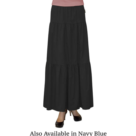 Women's Two Tiered Drop Waist Ankle Length Long Skirt