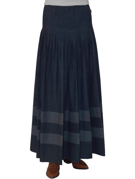 Women's Original BIZ Style Striped Bottom Long Denim Skirt
