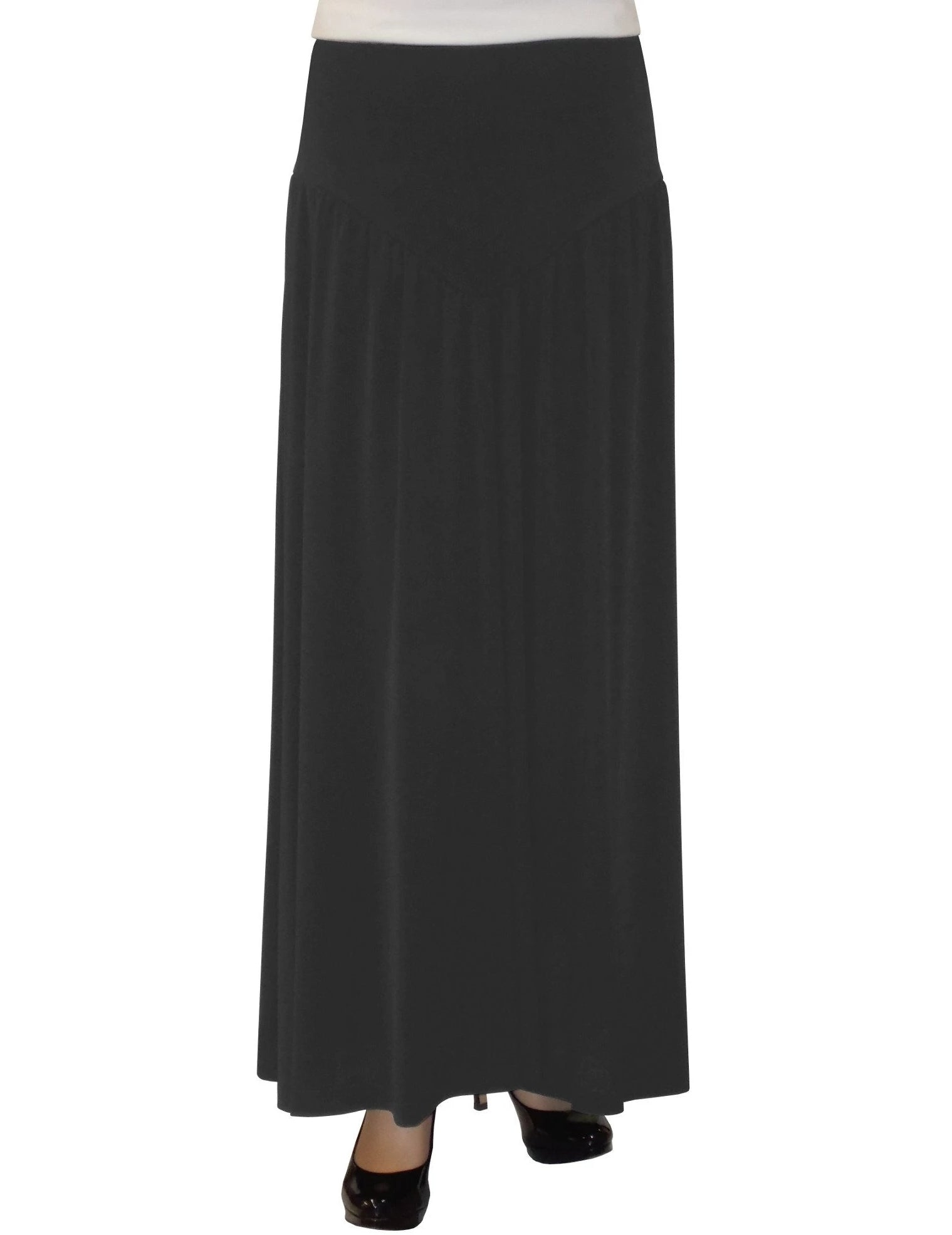 Women's Black Slinky Knit V- Yoke Ankle Length Long Skirt