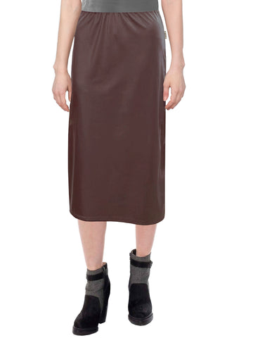 "Women's Faux Leather Matte Finish Basic Modest 26"" Below the Knee Length Stretch Knit Straight Skirt"