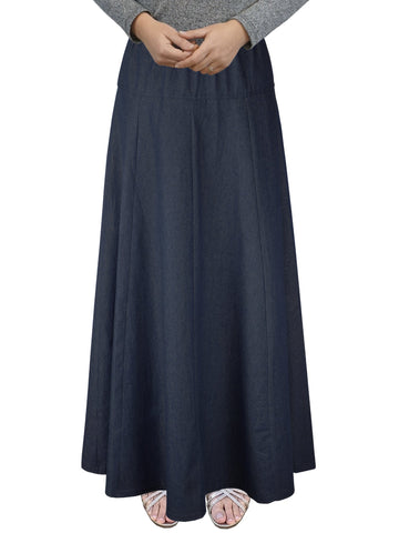 Women's Ultra Soft Lightweight Denim Fit and Flare A-Line Maxi Skirt