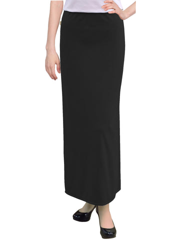 "Women's Basic Modest 37"" Ankle Length Stretch Knit Straight Skirt"