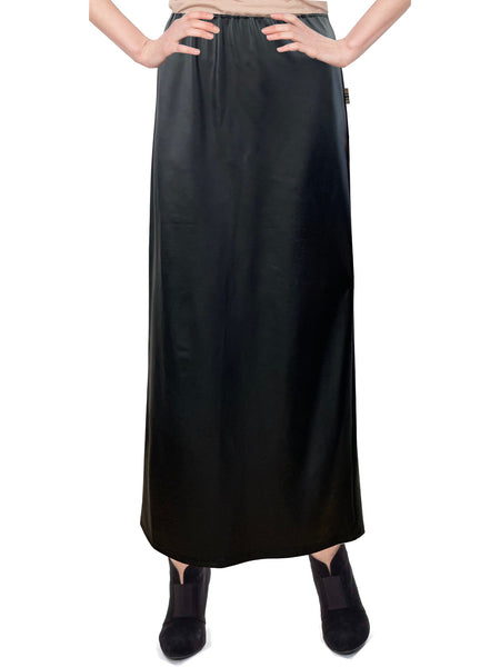 "Women's Faux Leather Matte Finish Basic Modest 37"" Ankle Length Stretch Knit Straight Skirt"