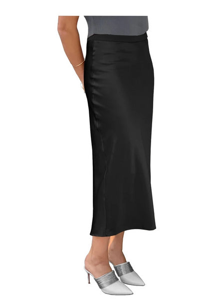 Stretch Satin Slip Lined Bias Cut Ankle Length Skirt Black