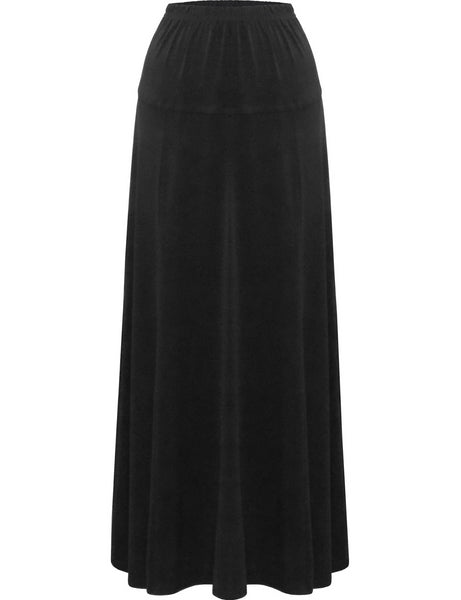 "Women's Stretch Knit Fit and Flare A-Line 36"" Maxi Length Skirt"