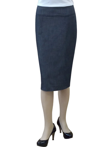 Women's Stretch Denim Panel Pencil Skirt