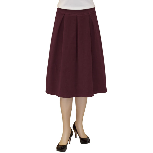 Women's Retro Pleated Ultrasoft Plush Stretch Corduroy Skirt